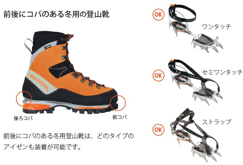 前後にコバのある冬用登山靴は、どのタイプのアイゼンも装着が可能です。