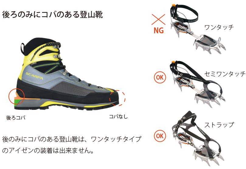 後のみにコバのある登山靴は、ワンタッチタイプのアイゼンの装着は出来ません。